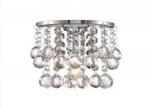 Acton Wall Lamp 1 Light E14 Switched Polished Chrome/Sphere Crystal