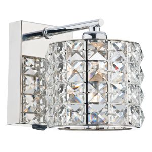 DAR AGN0750 Agneta Single Wall Light Crystal/Polished hrome Finish Switched