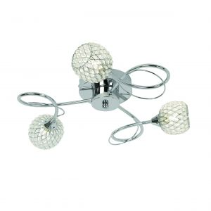 Aherne 3lt Semi flush Polished Chrome IP20 Contemporary Ceiling Lights
