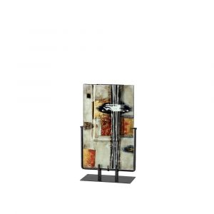 Diyas Home IL70346 (DH) Aleta Glass Art Vase Rectangle With Stand Multi-Colour