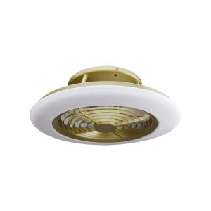 Mantra M6707 Alisio 70W LED Dimmable Ceiling Light With Built-In 35W DC Reversible Fan, Matt Burnished Gold/White Finish c/w Remote Control and APP Control