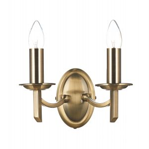 DAR AMB0975 Ambassador Double Wall Light Antique Brass Finish Switched