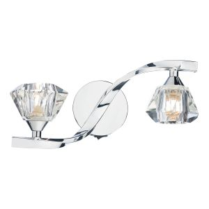 DAR ANC0950 Ancona Double Wall Light Polished Chrome/Crystal Finish Switched