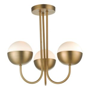 Andrea 3 Light E14 Aged Brass Semi Flush Ceiling Light With Opal Glass Shade