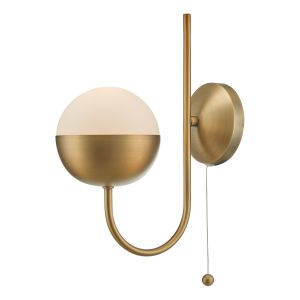 Andrea 1 Light E14 Aged Brass Single Wall Light c/w Pull Cord & Opal Glass Shade