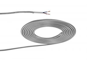 Nu Prema 1m Silver Braided 2 Core 0.75mm Cable VDE Approved (MOQ 25m Roll)