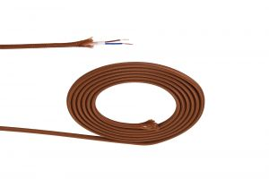 Nu Prema 1m Dark Brown Braided 2 Core 0.75mm Cable VDE Approved (MOQ 25m Roll)