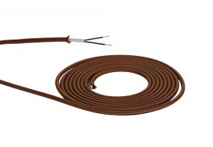 Nu Prema 1m Red Brown Braided 2 Core 0.75mm Cable VDE Approved (MOQ 25m Roll)