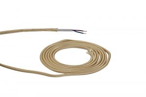 Nu Prema 1m Gold Braided 2 Core 0.75mm Cable VDE Approved (MOQ 25m Roll)