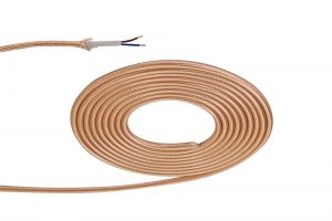 Nu Prema 1m Rose Gold Braided 2 Core 0.75mm Cable VDE Approved (MOQ 25m Roll)