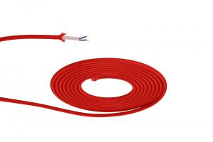 Nu Prema 1m Red Braided 2 Core 0.75mm Cable VDE Approved (MOQ 25m Roll)
