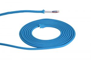 Nu Prema 1m Blue Braided 2 Core 0.75mm Cable VDE Approved (MOQ 25m Roll)