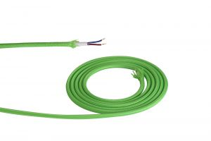 Nu Prema 1m Lime Green Braided 2 Core 0.75mm Cable VDE Approved (MOQ 25m Roll)
