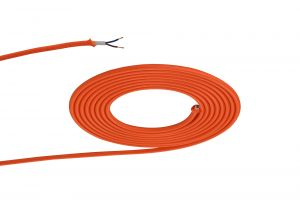 Nu Prema 1m Orange Braided 2 Core 0.75mm Cable VDE Approved (MOQ 25m Roll)