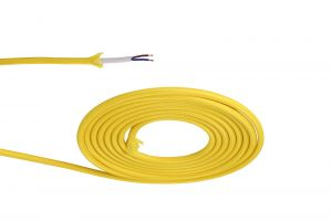 Nu Prema 1m Yellow Braided 2 Core 0.75mm Cable VDE Approved (MOQ 25m Roll)