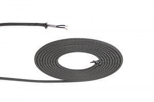 Nu Prema 1m Black & White Wave Stripes Braided 2 Core 0.75mm Cable VDE Approved (MOQ 25m Roll)