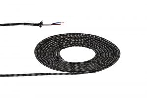 Nu Prema 1m Black & White Spot Braided 2 Core 0.75mm Cable VDE Approved (MOQ 25m Roll)