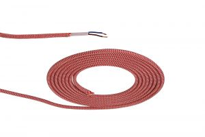 Nu Prema 1m Red & White Wave Stripes Braided 2 Core 0.75mm Cable VDE Approved (MOQ 25m Roll)