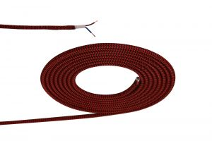 Nu Prema 1m Red & Black Wave Stripes Braided 2 Core 0.75mm Cable VDE Approved (MOQ 25m Roll)