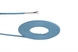 Nu Prema 1m Blue &  White Wave Stripes Braided 2 Core 0.75mm Cable VDE Approved (MOQ 25m Roll)
