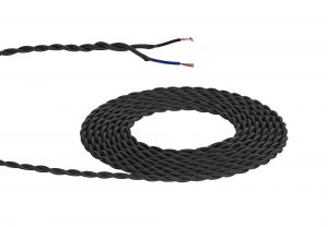 Nu Prema 1m Black Braided Twisted 2 Core 0.75mm Cable VDE Approved (MOQ 25m Roll)