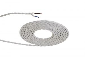 Nu Prema 1m White Braided Twisted 2 Core 0.75mm Cable VDE Approved (MOQ 25m Roll)