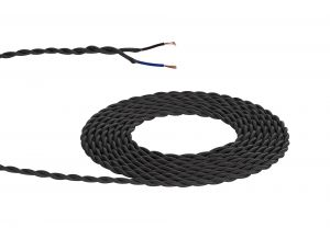 Nu Prema 1m Grey Braided Twisted 2 Core 0.75mm Cable VDE Approved (MOQ 25m Roll)
