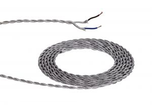 Nu Prema 1m Silver Braided Twisted 2 Core 0.75mm Cable VDE Approved (MOQ 25m Roll)