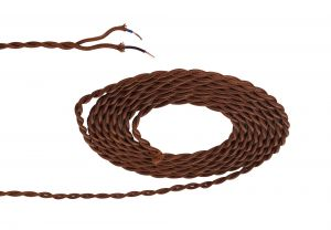 Nu Prema 1m Dark Brown Braided Twisted 2 Core 0.75mm Cable VDE Approved (MOQ 25m Roll)