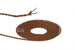 Nu Prema 1m Red Brown Braided Twisted 2 Core 0.75mm Cable VDE Approved (MOQ 25m Roll)