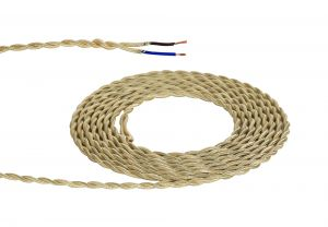 Nu Prema 1m Pale Gold Braided Twisted 2 Core 0.75mm Cable VDE Approved (MOQ 25m Roll)
