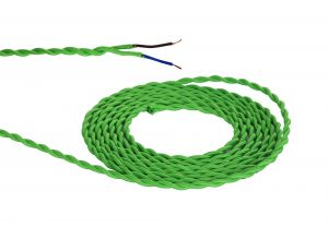 Nu Prema 1m Light Green Braided Twisted 2 Core 0.75mm Cable VDE Approved (MOQ 25m Roll)