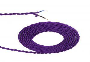 Nu Prema 1m Purple Braided Twisted 2 Core 0.75mm Cable VDE Approved (MOQ 25m Roll)