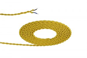 Nu Prema 1m Yellow Braided Twisted 2 Core 0.75mm Cable VDE Approved (MOQ 25m Roll)