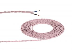 Nu Prema 1m Pink Braided Twisted 2 Core 0.75mm Cable VDE Approved (MOQ 25m Roll)