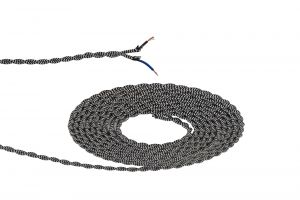 Nu Prema 1m Black & White Wave Stripe Braided Twisted 2 Core 0.75mm Cable VDE Approved (MOQ 25m Roll)