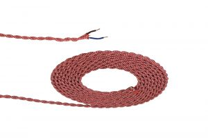 Nu Prema 1m Red & White Wave Stripe Braided Twisted 2 Core 0.75mm Cable VDE Approved (MOQ 25m Roll)
