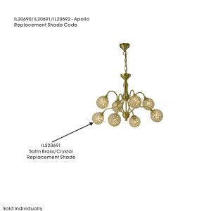 Diyas ILS20691 Apollo Shade Satin Gold/Crystal