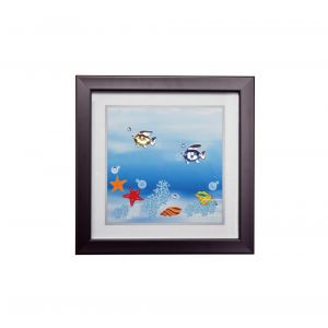 Diyas Home IL70500 (DH) Aqua Swimming Fish, Black Frame, Amber, Blue, Clear Crystal