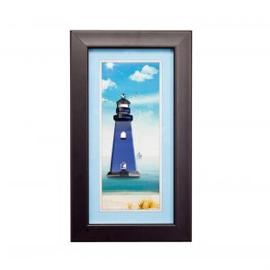 Diyas Home IL70513 (DH) Aqua Lighthouse,  Black Frame,  Clear, Blue Crystal