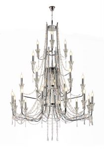 Armand Pendant 12+6+3+3 Light E14 Polished Chrome/Crystal, (ITEM REQUIRES CONSTRUCTION/CONNECTION) Item Weight: 16.5kg