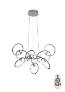 Mantra M5750 Aros Pendant 97cm Diameter, 10 Ring, 102W LED 3000K, 4420lm, Chrome, RF Remote Control, 3yrs Warranty