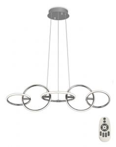 Mantra M5752 Aros Pendant 108cm x 35cm, 5 Ring, 59W LED 3000K, 2600lm, Chrome, RF Remote Control, 3yrs Warranty