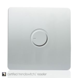 Trendi, Artistic Modern 1 Gang 1 Way Dimmer Switch, 200W Load Led Compatable Silver Finish, BRITISH MADE, 5yrs warranty