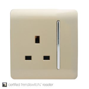 Trendi, Artistic Modern 1 Gang 13Amp Switched Socket Champagne Gold Finish, BRITISH MADE, 5yrs warranty