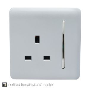 Trendi, Artistic Modern 1 Gang 13Amp Switched Socket Silver Finish, BRITISH MADE, 5yrs warranty