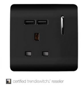Trendi, Artistic Modern 1 Gang 13Amp Switched Socket WIth 2 x USB Ports Gloss Black Finish, BRITISH MADE, 5yrs warranty