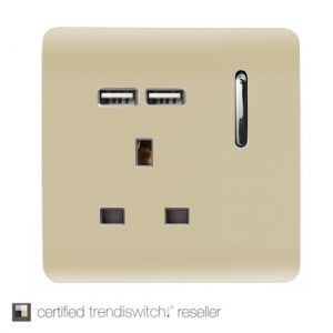 Trendi, Artistic Modern 1 Gang 13Amp Switched Socket WIth 2 x USB Ports Champagne Gold Finish, BRITISH MADE, 5yrs warranty