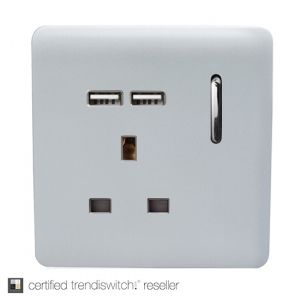 Trendi, Artistic Modern 1 Gang 13Amp Switched Socket WIth 2 x USB Ports Silver Finish, BRITISH MADE, 5yrs warranty
