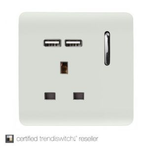 Trendi, Artistic Modern 1 Gang 13Amp Switched Socket WIth 2 x USB Ports Gloss White Finish, BRITISH MADE, 5yrs warranty